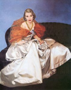 from all things Ruffnerian: portrait of Millicent Rogers,by Bernard Boutet de Monvel,  revels in the luxe of designer clothes.