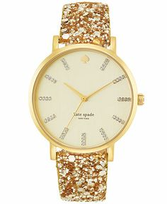 kate spade new york Watch, Women's Metro Grand Gold-Tone Glitter Leather Strap