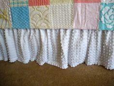 Vintage Chenille White Bedskirt, possible crib skirt idea