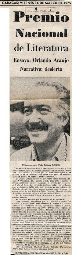 Premio nacional de la literatura  Publicado el 1 de marzo de 1975