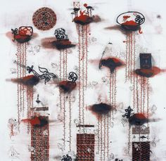 John Pule, Auckland, New Zealand. Leaving Returning, 2006 oil and ink on canvas 2000 x 2000 mm. Art Google, American Art, Wind Chimes, New Zealand, Contemporary Art, Ink, Canvas, Gallery, Drawings