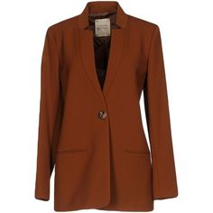 Garage Nouveau Blazer (755 BRL) ❤ liked on Polyvore featuring outerwear, jackets, blazers, camel, brown blazer jacket, long sleeve jacket, multi pocket jacket, blazer jacket and single breasted jacket