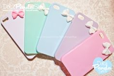 Cute Candy Colored iPhone 4 4S Hard Cover Case with Mini Glam Bow ( set of 5 ) Handcrafted  White, Pastel Teal ( mint Green), Pastel Blue, Pastel