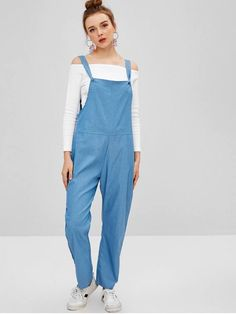 b1bbc467562 Chambray Pocket Pinafore Sleeveless Maxi Jumpsuit - Silk Blue. Women Casual  Daytime Street Club Daily