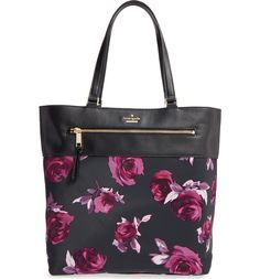 Swooning over this Kate Spade tote decorated in a chic floral print and topped with leather trim. This will be perfect for carrying the everyday essentials to and from work or school.