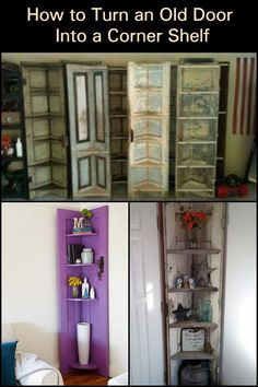 Turn an Old Door Into an Eye-Catching Corner Shelf