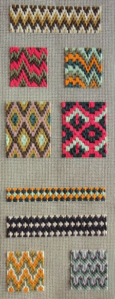 Bargello sampler study | First mandatory study piece for the Bargello Beginners' class. It's a sampler study based on a pattern given by the teacher, worked on single thread canvas with DMC Coton Retors. The sampler begins at the top with basic Florentine stitches and patterns and goes gradually down to the more intricate 'Hungarian stitch' technique.