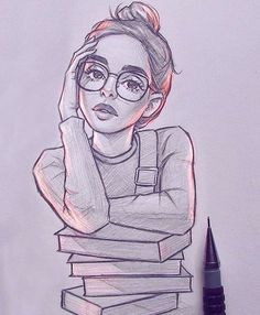 Art Sketches Ideas - Image could contain: 1 person - Best Art Pin - Art Sketc . Girl Drawing Sketches, Girly Drawings, Art Drawings Sketches Simple, Pencil Art Drawings, Easy Drawings, Tumblr Sketches, Drawings For Girls, Girl Pencil Drawing, Simple Cute Drawings
