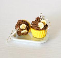 Banana chocolate cupcake earrings miniature by Zoozim on Etsy, $17.00