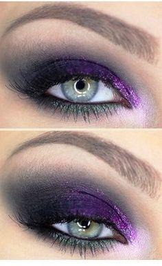 Smokey eye with a hint of purple glitter | AmazingMakeups.com
