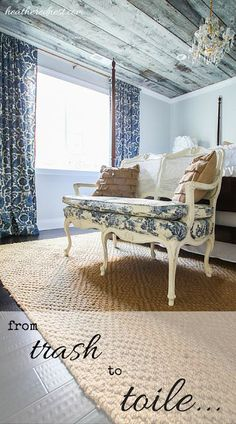 DON'T THROW THAT OUT! Re-Upholster it!  Check out this Trash to Toile Transformation NOW over at Heathered Nest!