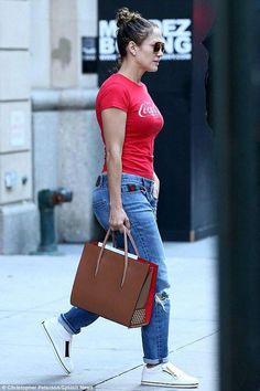 f5848fa41e5 Jennifer Lopez wearing Gucci Boyfriend Straight Leg Jeans