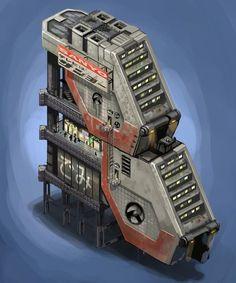 for some post apo-city. art purchased by Building concept Cyberpunk City, Arte Cyberpunk, Futuristic City, Futuristic Architecture, Minecraft Architecture, Rpg Star Wars, Sci Fi City, Building Concept, Building Ideas