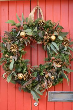 Christmas wreath with feathers, eucalyptus, berries and cones, oranges and poppy seed heads in gold. Homemade Christmas Wreaths, Christmas Door Wreaths, Holiday Wreaths, Handmade Christmas, Christmas Crafts, Christmas Decorations, Holiday Decor, Christmas Flower Arrangements, Christmas Flowers