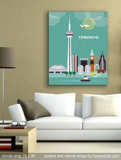 Modern retro Toronto skyline canvas wrapped print by Karen Young of Loose Petals.