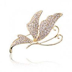Zlatá a strieborná Swarovski Crystal Butterfly Pin Brošne