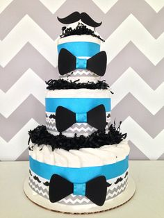 Little Man Mustache Diaper Cake, Baby Shower Gift on Etsy, $45.00