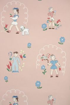 This roll of wallpaper is an authentic, old stock roll from the It is a full double roll, which will cover approximately 50 sq. Pink Wallpaper Vintage, Wallpaper Pink And Blue, Nursery Wallpaper, Of Wallpaper, Nursery Patterns, Vintage Interior Design, Vintage Baby Clothes, Retro Images, Vintage Nursery