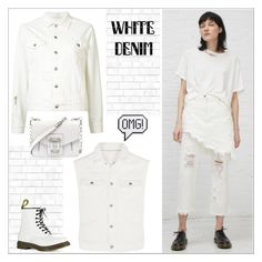"""""""White Denim, Head to Toe"""" by yours-styling-best-friend ❤ liked on Polyvore featuring R13, Boohoo, Tempaper, Anya Hindmarch, Dr. Martens and Proenza Schouler"""