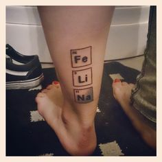 My tattoo! Fe. Li. Na. Breaking bad rules! This is awesome! A little smaller on the side of my ankle would be perfect!!!