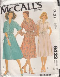 1d77d895f573 McCalls 6422 Button Front Dress Dolman Kimono Sleeves by CedarSewing Shirt  Dress Pattern