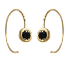 Wire Earrings with Black Diamonds: 18k gold