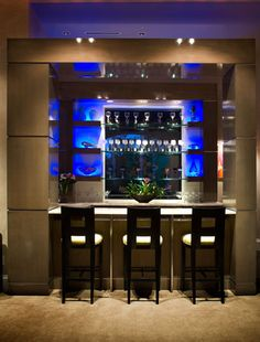 Blue display/accent lighting for formal bar area