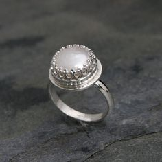 Pearls White Pearl Statement Geometric Ring Sterling Silver Black Ring with Granulation and Pearl Cocktail Square Ring with Pearl