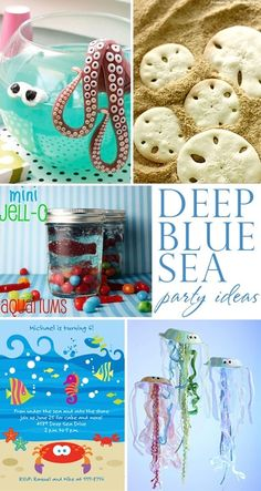 Fabulously creative deep blue sea birthday party ideas! Sand dollar cookies, octopus punch, jellyfish crafts, and more!