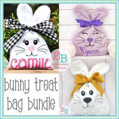 In The Hoop Bunny Treat Bag Bundle – Embroidery Boutique Embroidery Designs, Embroidery Boutique, Embroidery Bags, Machine Embroidery, Embroidery Files, Easter Projects, Bunny Crafts, Easter Crafts For Kids, Easter Ideas