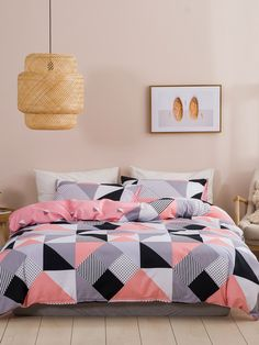 Geometric Pattern Bedding Set Without Filler bedroom colors Cute Bedroom Ideas, Cute Room Decor, Teen Room Decor, Room Ideas Bedroom, Bedroom Decor, Room Design Bedroom, Home Room Design, Bedroom Colors, Bed Covers For Girls