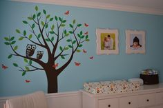 Painted Tree with a Mama Owl and a Baby Owl.  Perfect for me and Charlie.