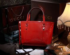 Gucci 309613 Nice Microguccissima Patent Leather Tote Red