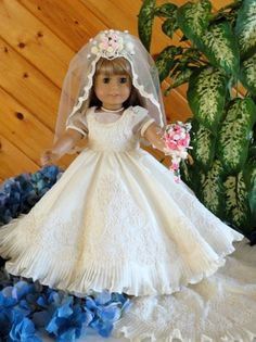 """American Girl 18"""" Doll Wedding Gown, Dress and Veil. Just beautiful. Inspiration."""