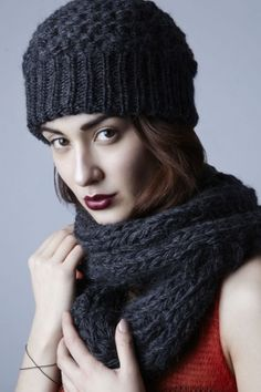 Matching knit scarf and hat