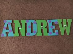 Monsters Inc Wood Letters. Baby Shower/Nursery Decorations.