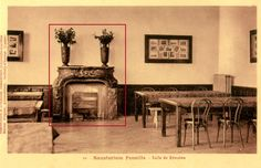 Meeting Room at the Fenaille Sanatorium with the exceptional Alabastro di Busca fireplace with gilded bronze lions heads.