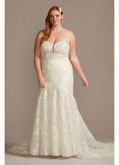 Stars A-Line Plus Size Wedding Dress | David's Bridal Plus Size Elopement Dress, Plus Wedding Dresses, Plus Size Wedding, Wedding Dress Styles, Wedding Gowns, Tulle Wedding, Boho Wedding Dress, Capelet Dress, Satin Gown