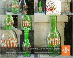 """Personalized Chevron Wine Carafe  """"Mommy Time 'Wine o' Clock'""""  by The KEL Kollection, $45.00 + shipping  www.facebook.com/TheKELKollection"""