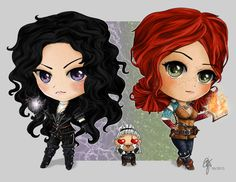 """These are Yennefer and Triss (and a small Geralt) from """"The Witcher 3 - Wild Hunt"""" as Chibis. Yennefer and Triss Chibis Witcher Triss, Witcher Art, Ciri, The Witcher Game, The Witcher Books, Witcher 3 Wild Hunt, Steampunk Characters, Triss Merigold, Yennefer Of Vengerberg"""
