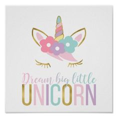Gold Unicorn Face Girl's Room Poster - gold gifts golden customize diy