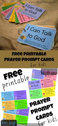 I Can Talk to God - Free printable prayer prompt cards for boys and girls - As…