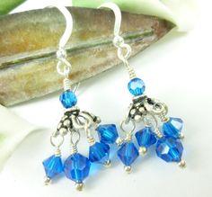 Capri Blue Swarovski Bicone Crystals Sterling Chandelier Earrings | dianesdangles - Jewelry on ArtFire