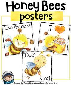 3 Honey Bee Posters