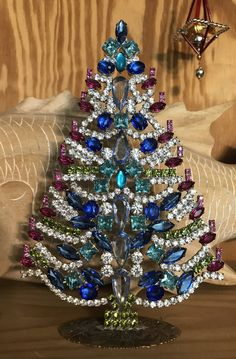 Blue Signed Vintage Czech Rhinestone Christmas Tree, Czech Blue Crystal Christmas Tree, Stand up tree, Tabletop Holiday Decoration by MeAndMoma on Etsy