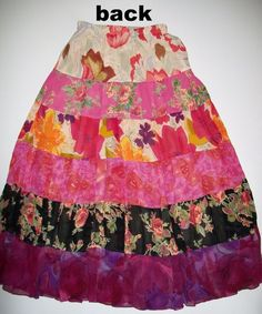 "COLDWATER CREEK XS Pinks/Multi Boho Prairie Peasant Gypsy Tiered Skirt 26"" 34"" W…"