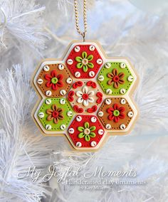 Handcrafted Polymer Clay  Snowflake Ornament by MyJoyfulMoments