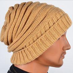 Men's Knit Winter Hat | ... about Cool Men's Knitting Wool Beanie Slouch Cap Skull Ski Winter Hat