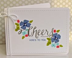The Cheers sentiment from Elegant Sentiments http://www.sweetstampshop.com/elegant-sentiments/ really pulls this card together.  Thanks for the SWEET card, Michelle @ Pretty Periwinkles!