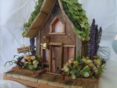 Fairy House Fairy Garden Night Light Reclaimed Pallet Wood OOAK. $150.00, via Etsy.
